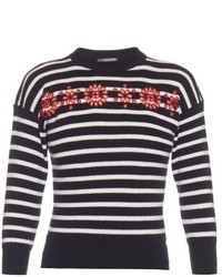 Alexander McQueen Cut Out Embroidered Floral Striped Sweater
