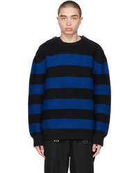 Burberry Black Navy Striped Cotton Sweater