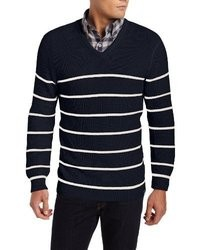 Nautica Breton Stripe V Neck Sweater