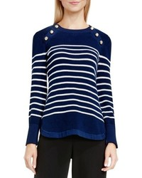Button detail stripe sweater medium 827498