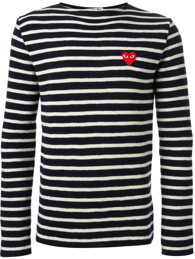 3b74db1ec54ea9 ... Crew-neck Sweaters Comme des Garcons Comme Des Garons Play Embroidered  Heart Striped Sweater