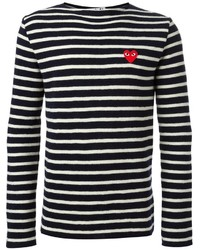 Comme des garons play embroidered heart striped sweater medium 330907
