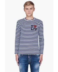 Men's Navy Horizontal Striped Crew-neck Sweater, Light Blue ...