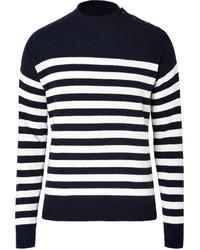 Ralph Lauren Blue Label Cotton Cashmere Striped Pullover In Navycream