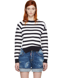 Dsquared2 White Navy Striped Sweater