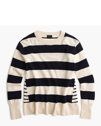 J.Crew Italian Cashmere Mixed Stripe Crewneck Sweater