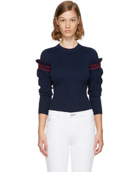 3.1 Phillip Lim Navy Ruffle Sleeve Sweater