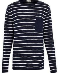 River Island Navy Stripe Pocket Long Sleeve T Shirt