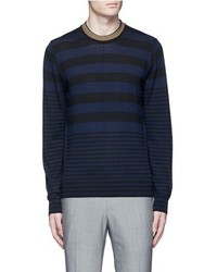 Paul Smith Ps By Contrast Neck Stripe Wool Sweater