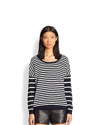 Rag & Bone Striped Dolman Sleeved Sweater Navy