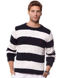 Nautica Sweater Stripe Fisherman Crew Sweater