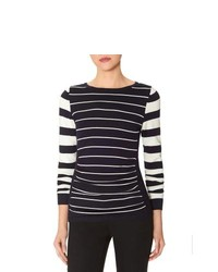 The Limited Striped Shirred Front Sweater Navy S