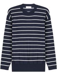 Wool striped knit pullover medium 401674