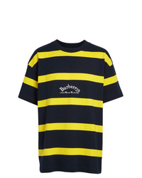 Burberry Embroidered Archive Logo Striped Cotton T Shirt