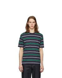 Junya Watanabe Green And Navy Striped T Shirt