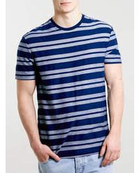 Topman Navy Herringbone Stripe T Shirt