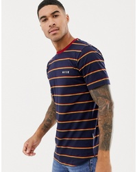 Nicce London Nicce T Shirt In Navy With Stripes