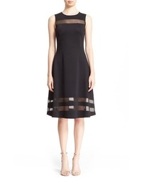 St. John Collection Transparent Stripe Shine Milano Knit Fit Flare Dress