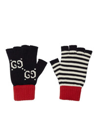 Gucci Navy And Red Striped Gg Gloves