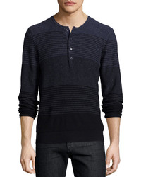 7 For All Mankind Gradient Stripe Long Sleeve Henley Tee Navy