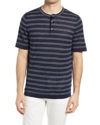 Benson Stripe Linen Short Sleeve Henley