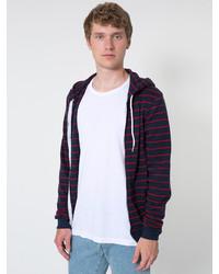 American apparel striped fleece zip hoodie medium 153606