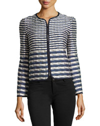 Striped jacquard jacket navywhitegray medium 166976