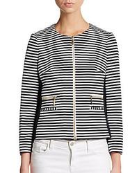 Striped knit zip front jacket medium 166978