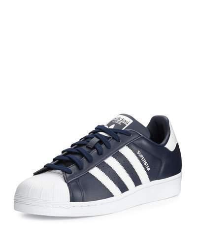 $120, adidas Superstar Collegiate Leather Sneaker Navywhite