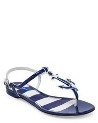 Dolce & Gabbana Anchor Leather Thong Sandals