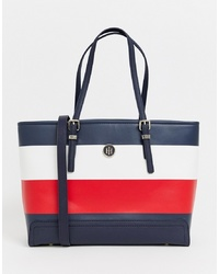 Navy Horizontal Striped Leather Tote Bag