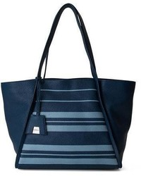 Akris Alex Medium Striped Leather Tote Bag Blue Pattern