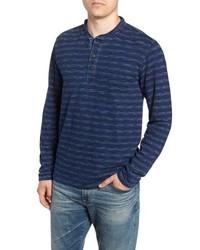 Navy Horizontal Striped Long Sleeve Henley Shirt