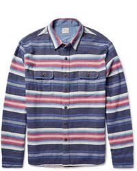 Navy Horizontal Striped Long Sleeve Shirt