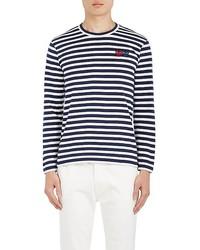 Comme des Garcons Comme Des Garons Play Heart Patch Striped Cotton T Shirt