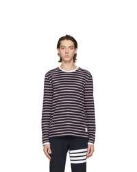 Thom Browne Navy And Red Ringer Long Sleeve T Shirt