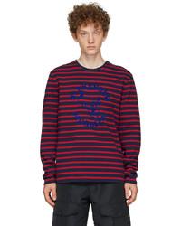 Alexander McQueen Navy Red 70s Skull Long Sleeve T Shirt