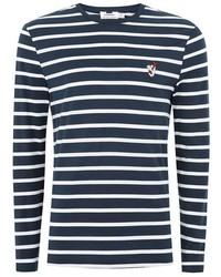 Topman Navy Stripe Badge T Shirt