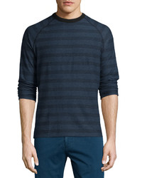 Billy Reid Striped Long Sleeve T Shirt Blue