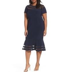 Xscape Evenings Xscape Shadow Stripe Flounce Hem Midi Dress