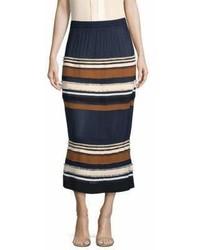 Ribbed stripe midi skirt medium 6991196