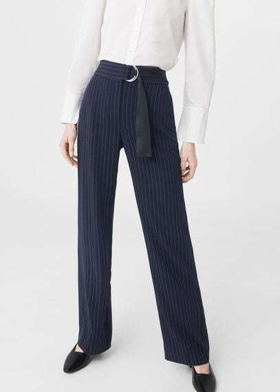 Mango Chalk Stripe Pants