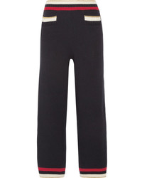 Gucci Striped Knitted Cotton Blend Straight Leg Pants Midnight Blue