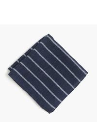 Navy Horizontal Striped Pocket Square