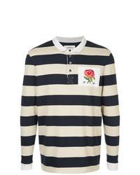 Navy Horizontal Striped Polo Neck Sweater