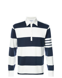 Thom Browne Long Sleeve Polo With 4 Bar Stripe In Blue And White Rugby Stripe Cotton