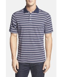Navy Horizontal Striped Polo