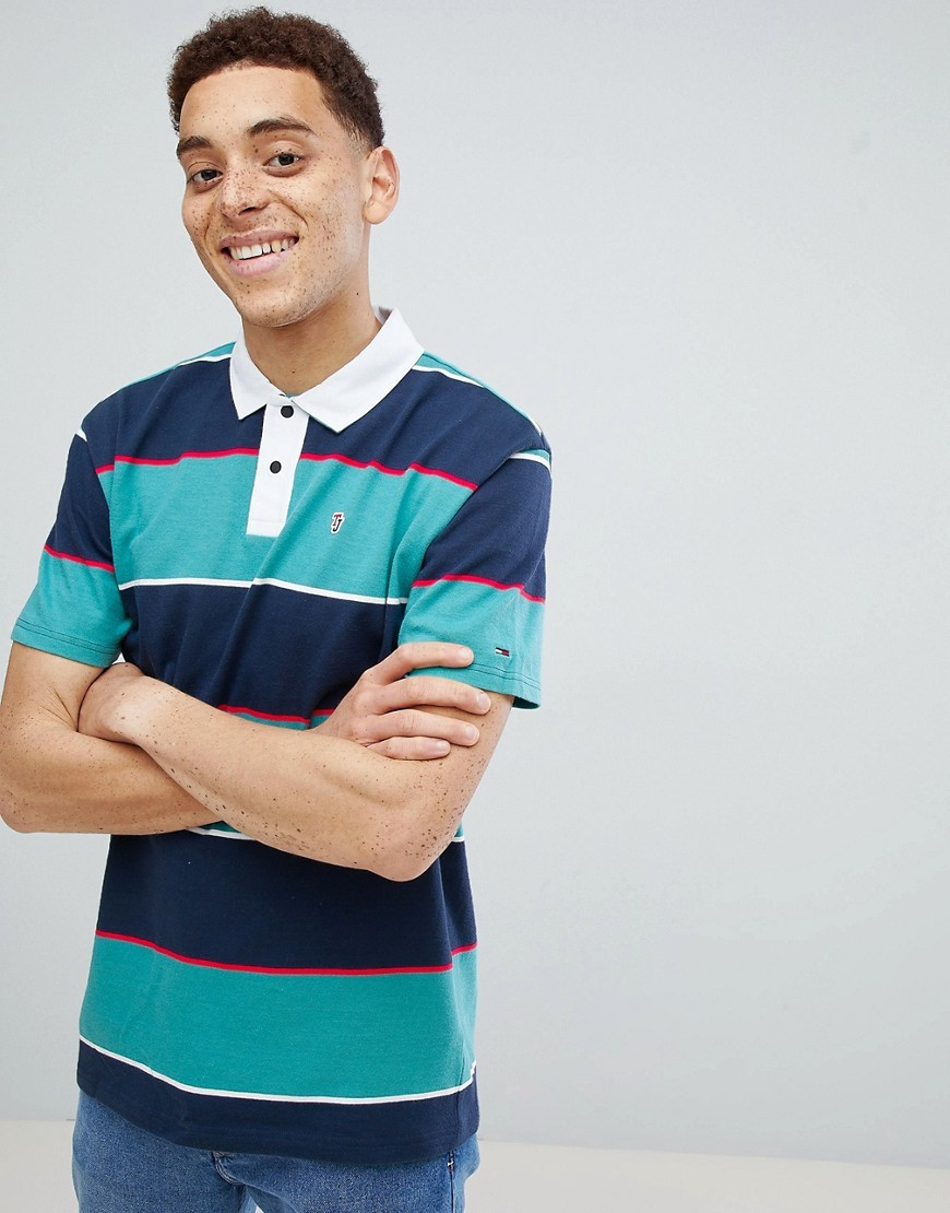 2d76e97e03f Capsule Block Stripe Short Sleeve Rugby Polo In Navygreengreen. Navy  Horizontal Striped Polo by Tommy Jeans