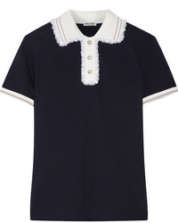 Miu Miu Lace Trimmed Cotton Piqu Polo Shirt Midnight Blue