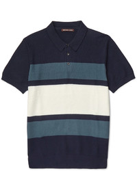 Michael Kors Michl Kors Slim Fit Striped Knitted Cotton Polo Shirt